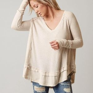 Free People laguna thermal oatmeal oversized top